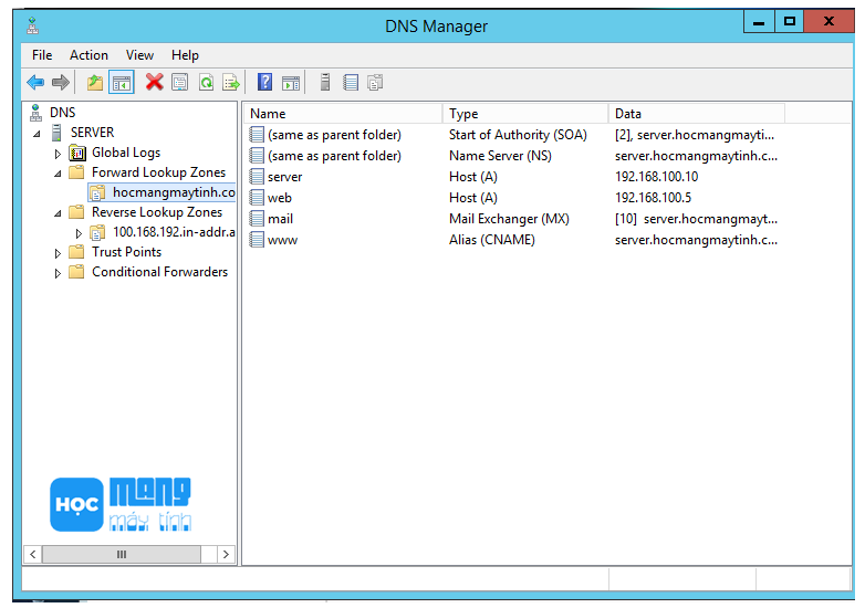 cname record dns server windows server 2012 r2
