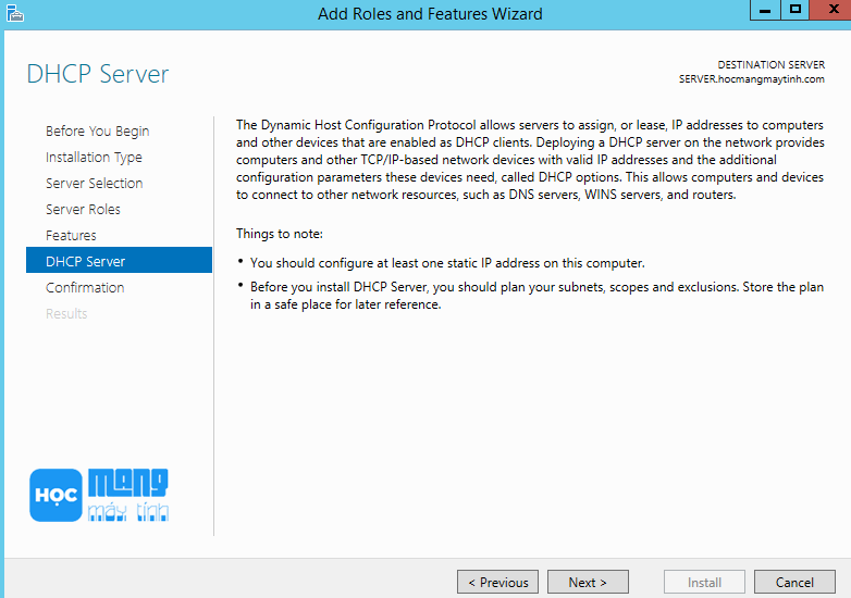dhcp server windows server 2012 r2