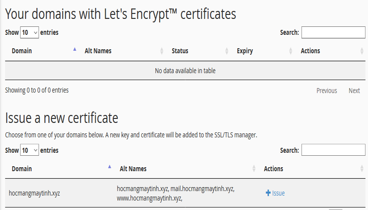Lets Encrypt Free SSL Certificate create