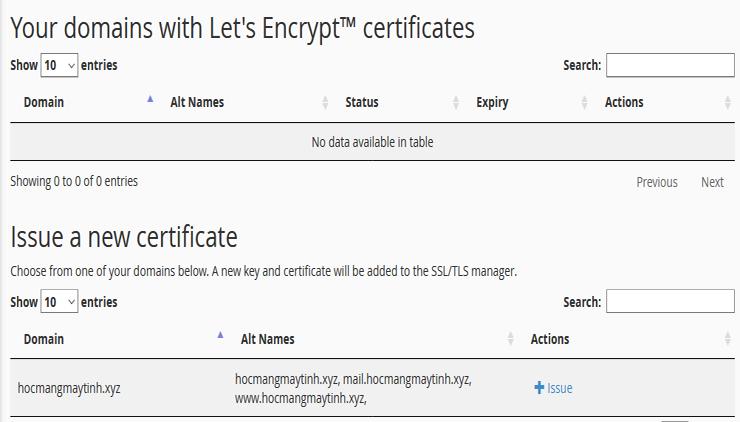 Lets Encrypt Free SSL Certificate create