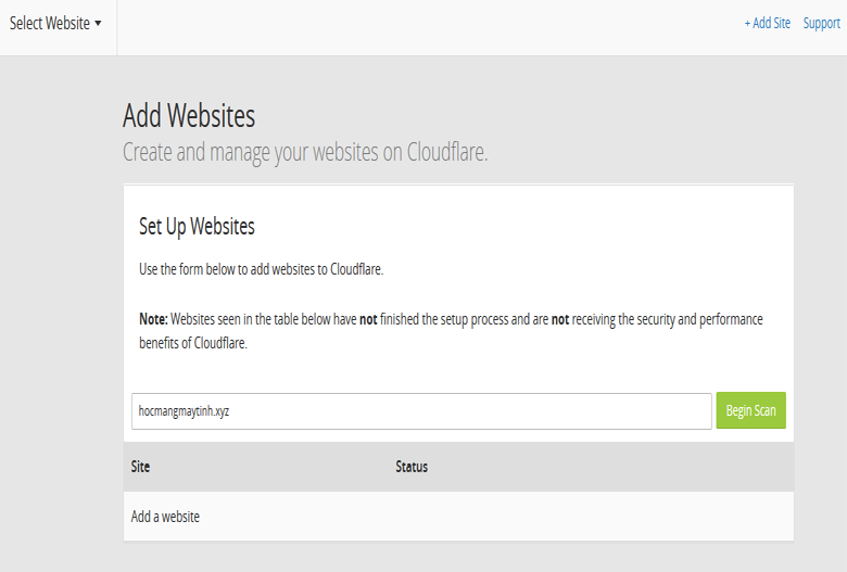 Them website vao CloudFlare