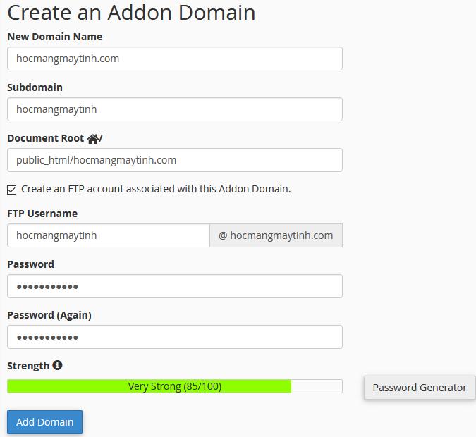 addonb domain cpanel