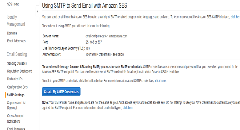 Create my SMTP Credentials