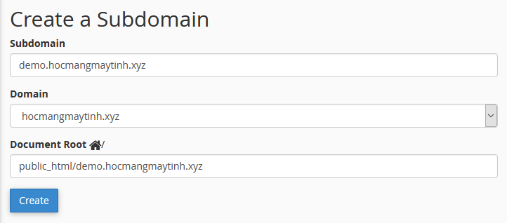 subdomains cpanel
