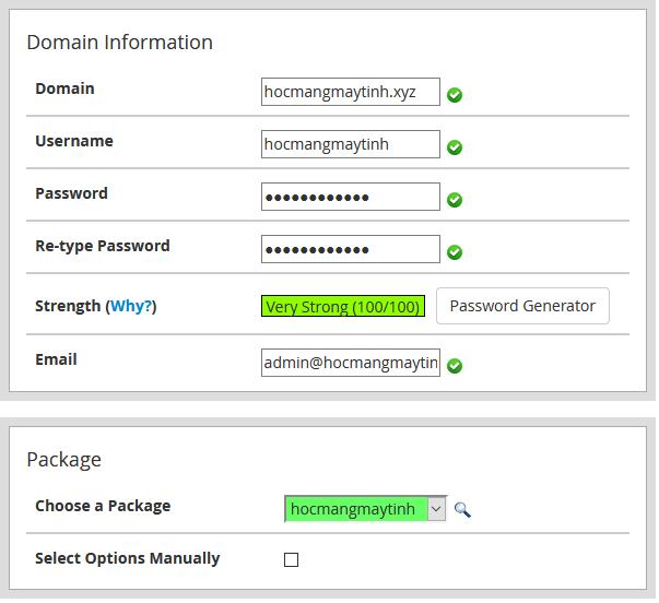 user hosting cpanel