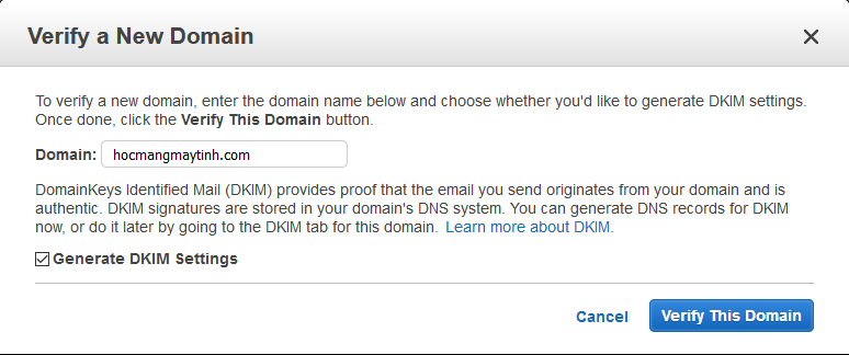 verify a new domain Amazon SES