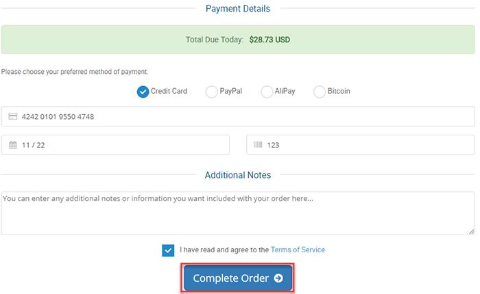 Payment Details Hosting