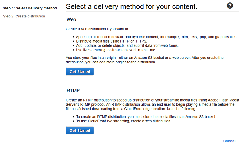 Select delivery method