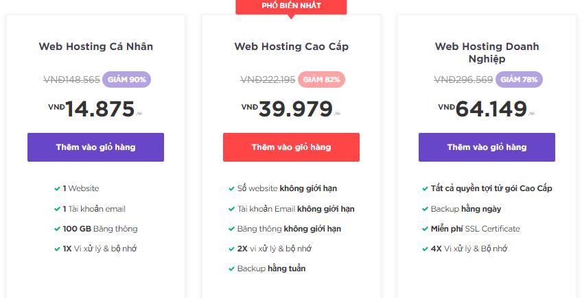 Gói Web Hosting Cao Cấp